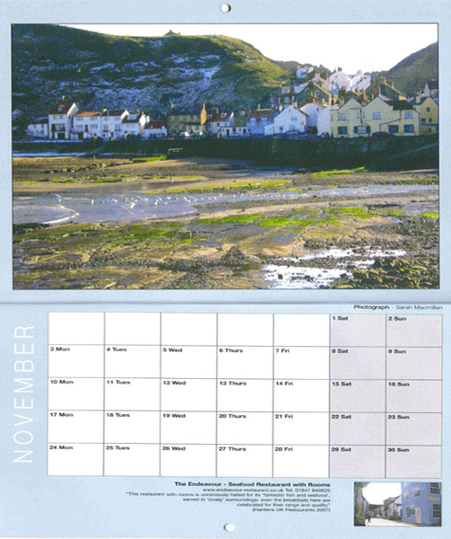 Photographs of Staithes 2008 Calender, click to enlarge